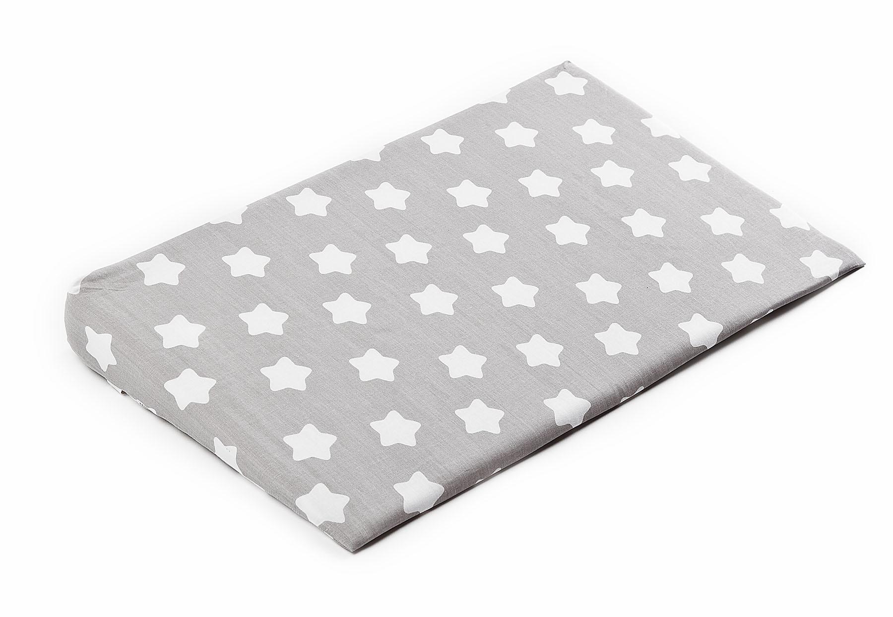 Pokrowiec na poduszkę-klin do łóżeczka – gwiazdki szary