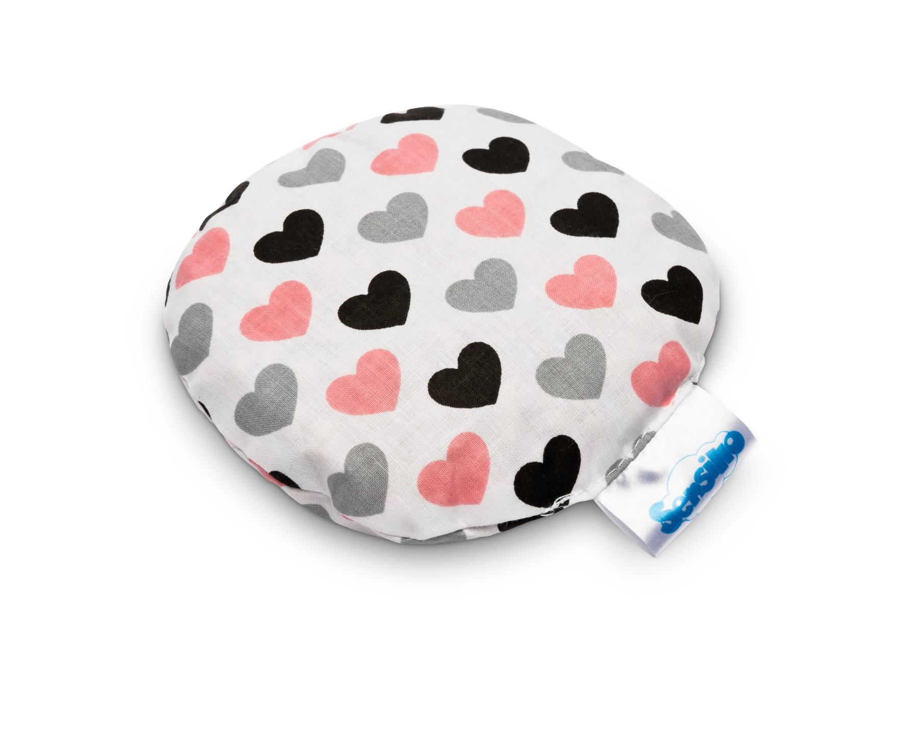 Hot-water Bottle With Cherry Stones – hearts gray-pink