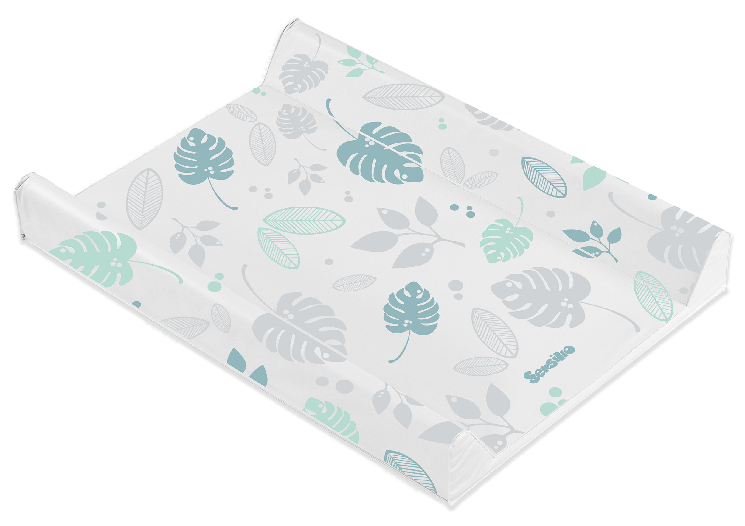 Floral Changing Pad – platinium and mint