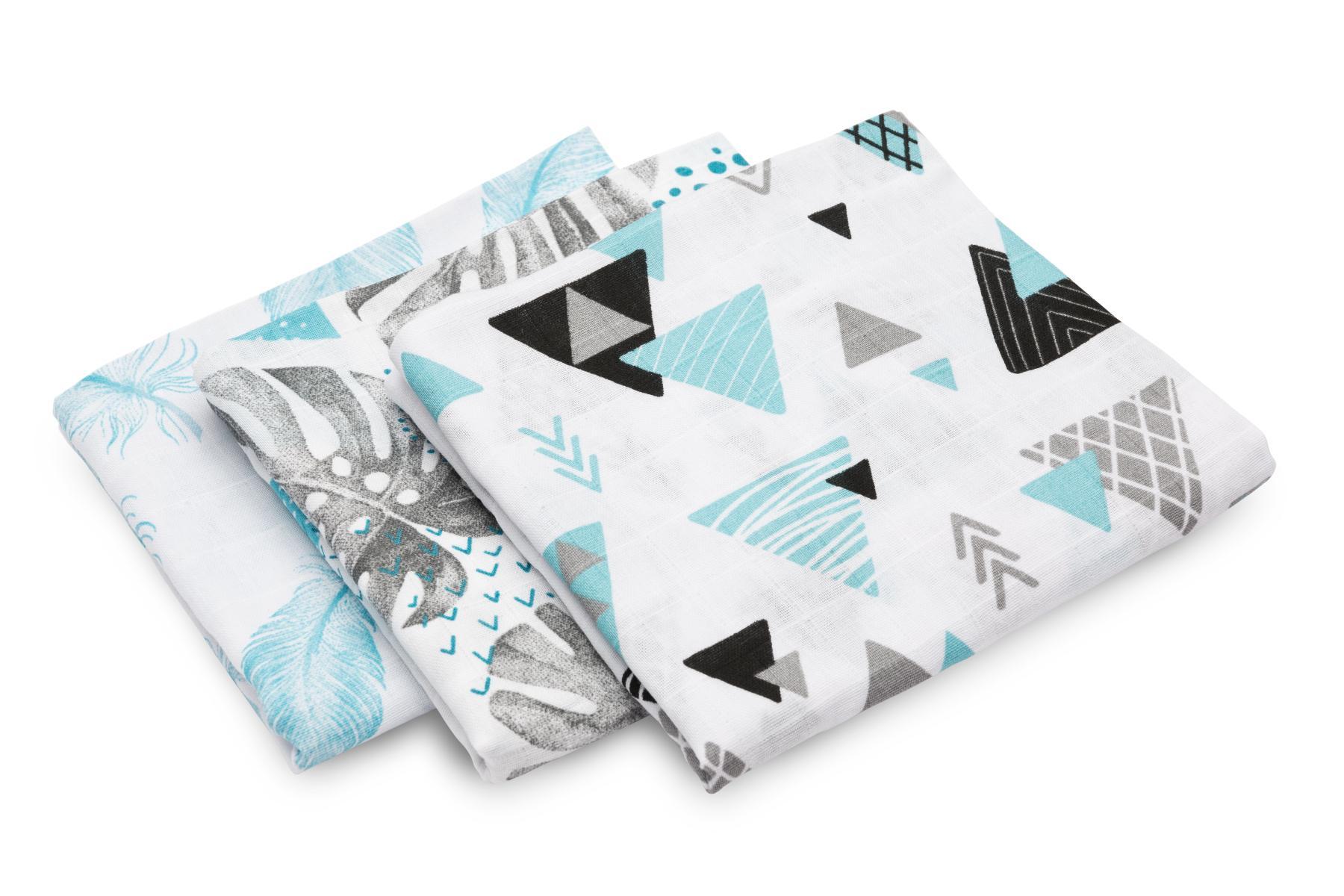 Muslin diaper 3-pack – blue