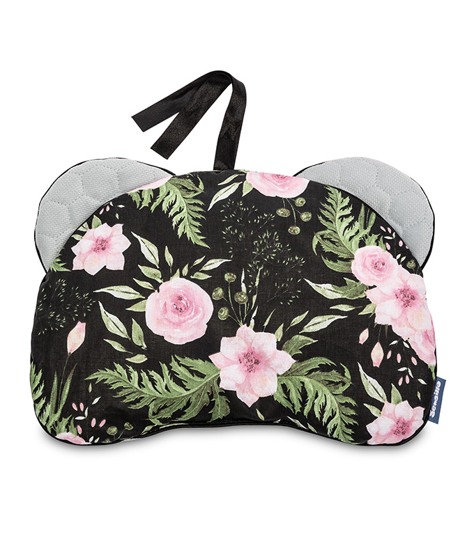 Velvet Pushchair Pillow – flowers black