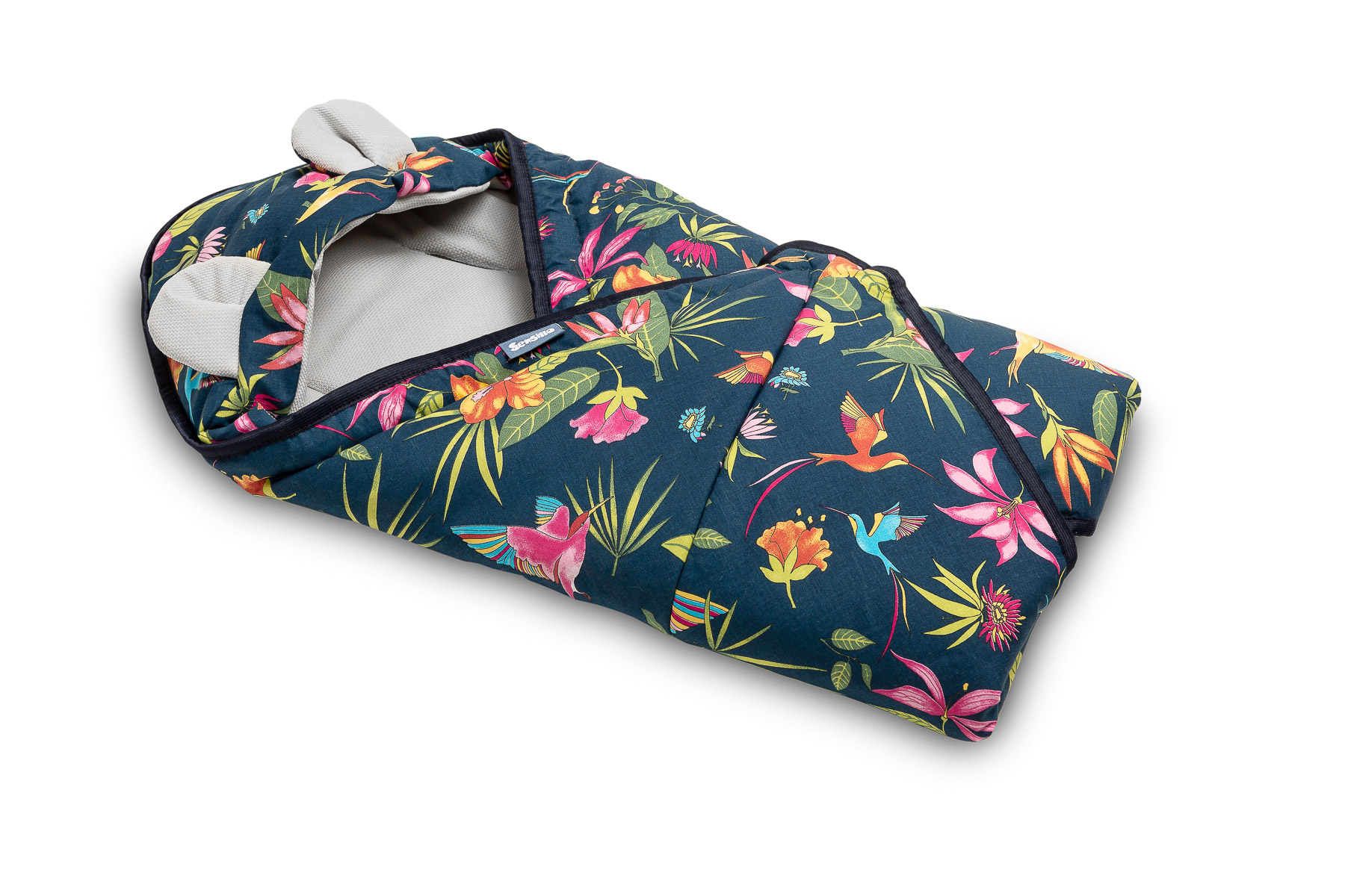 Velvet carry-cot swaddle blanket – humming bird navy blue