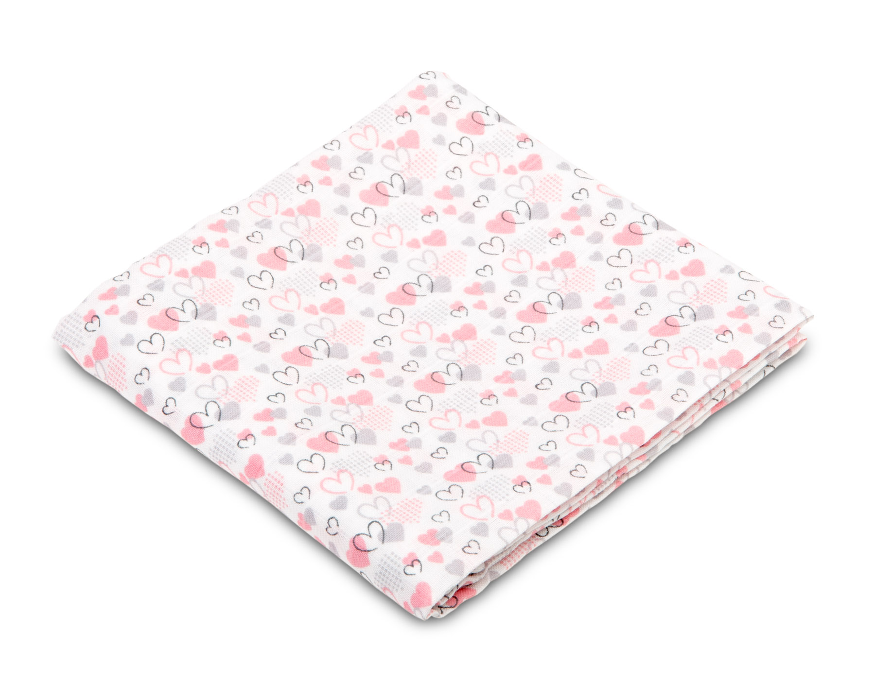 Muslin diaper – hearts pink-grey