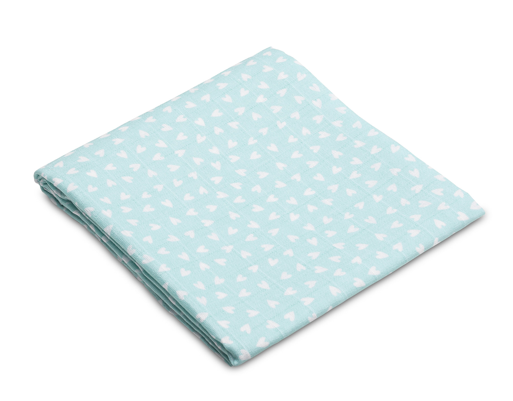 Muslin diaper – hearts mint