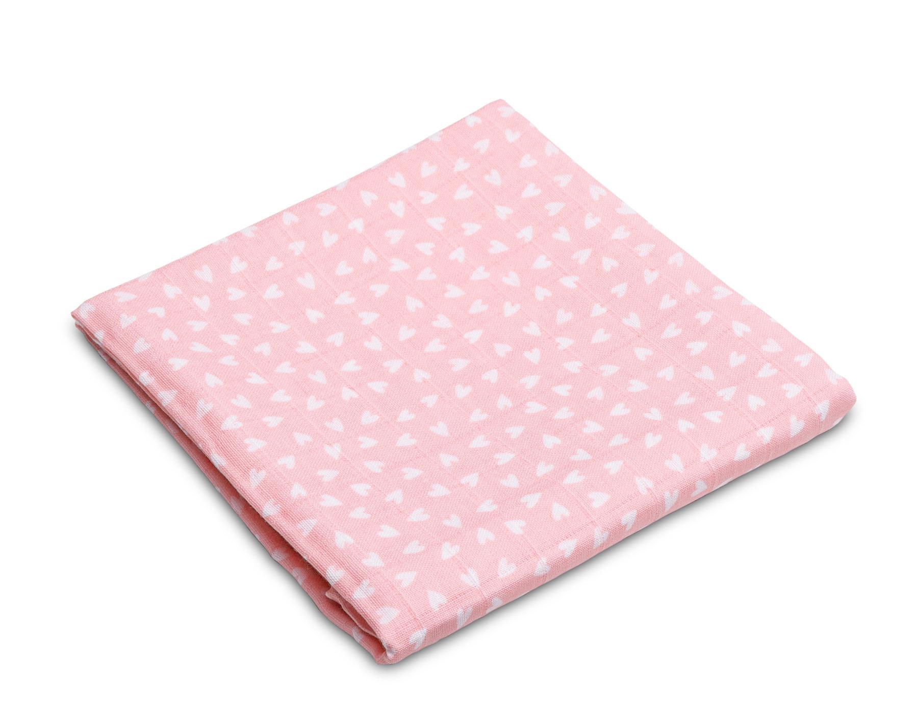 Muslin diaper – hearts pink
