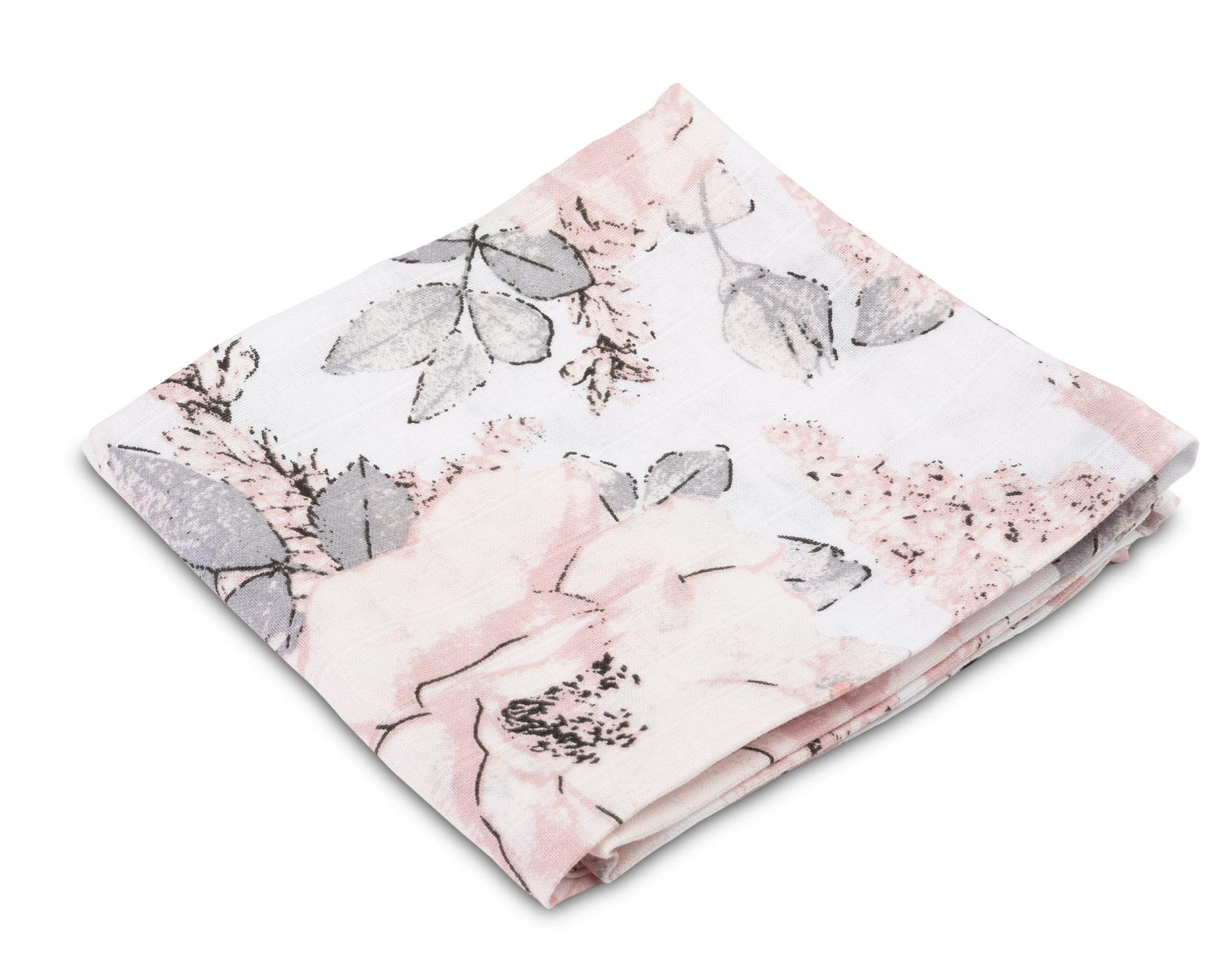 Muslin diaper – peonies white