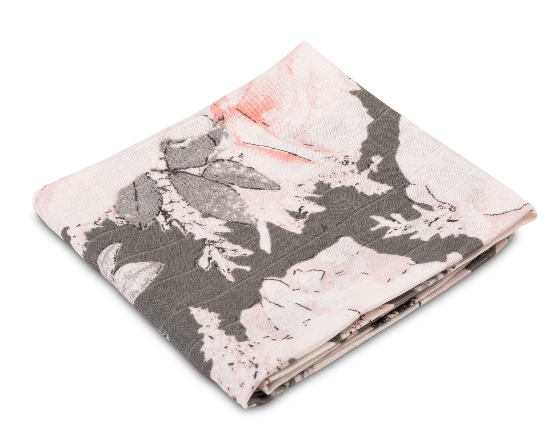 Muslin diaper – peonies grey