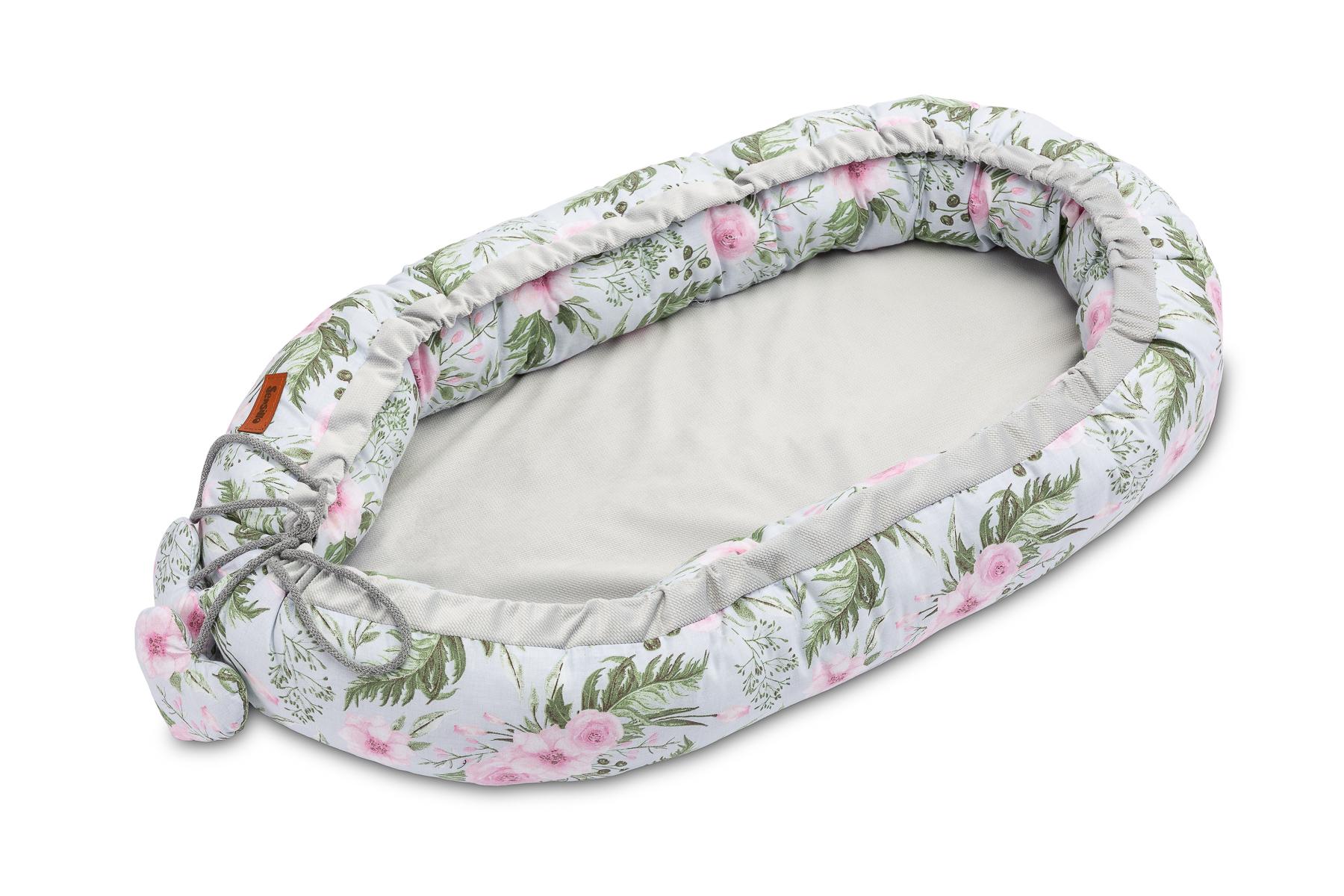 Velvet Baby Nest/baby Cocoon – flowers grey