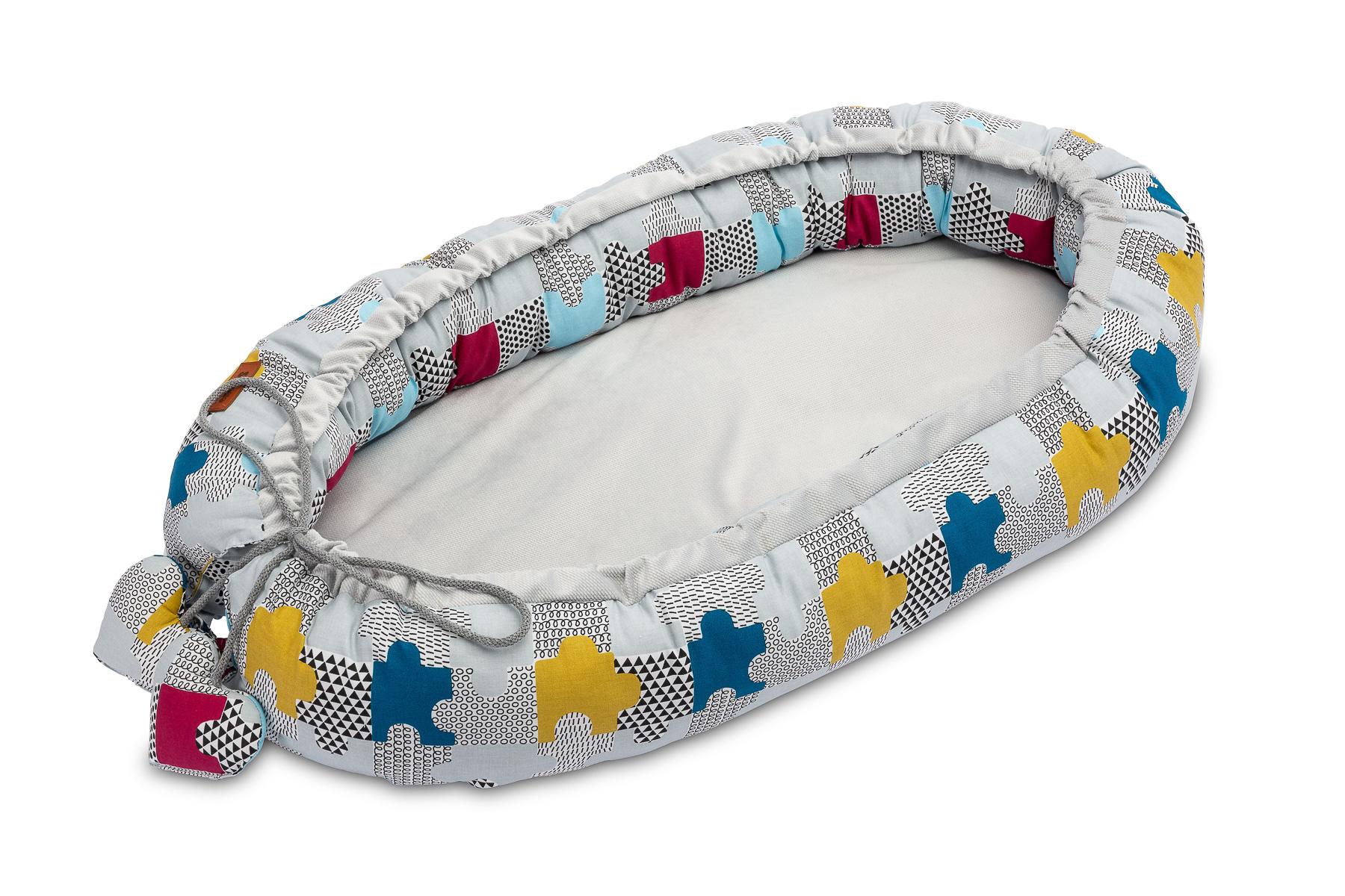 Velvet Baby Nest/baby Cocoon – puzzle grey