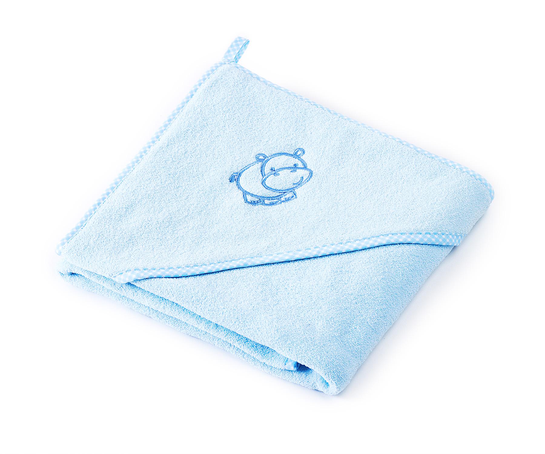 Hippo soft bath towel – blue