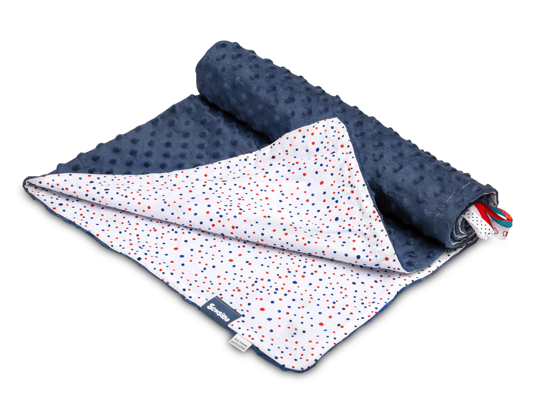 Light Minky Blanket – dots navy blue