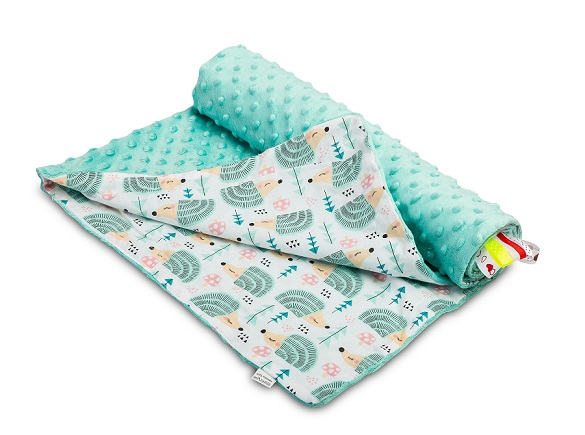 Light Minky Blanket – hedgehogs mint
