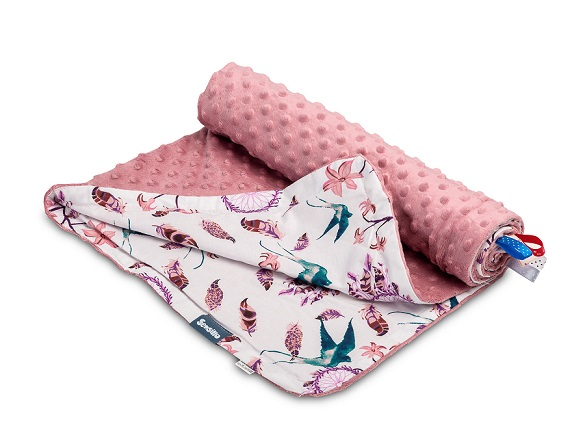 Light Minky Blanket – birds retro pink