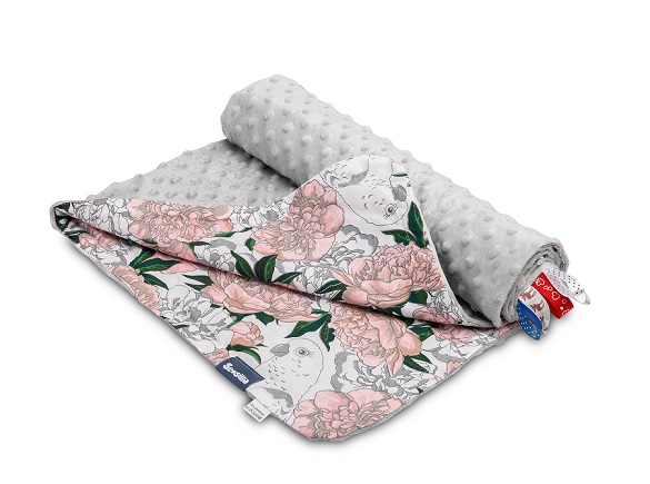 Light Minky Blanket – flowers grey