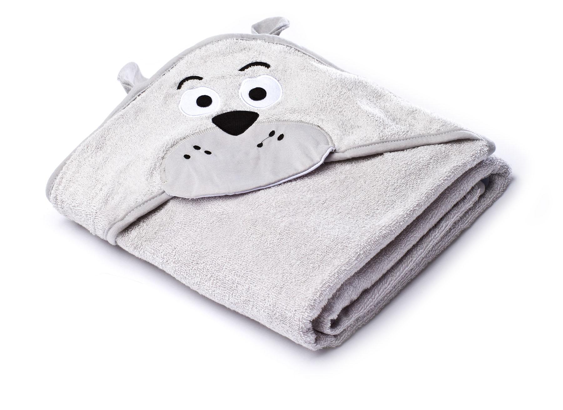 Water Friends soft bath towel – gray teddy bear