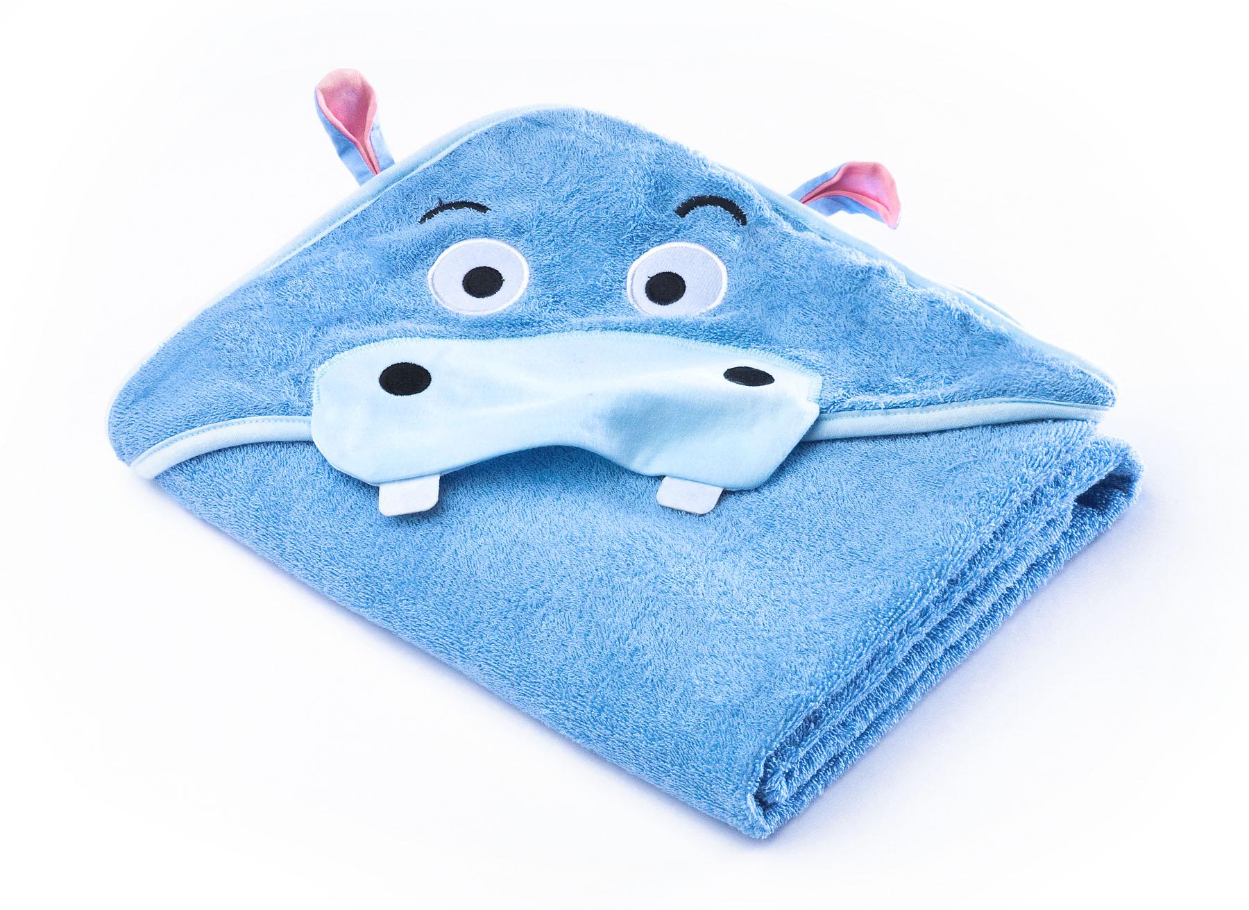 Water Friends soft bath towel – blue hippo