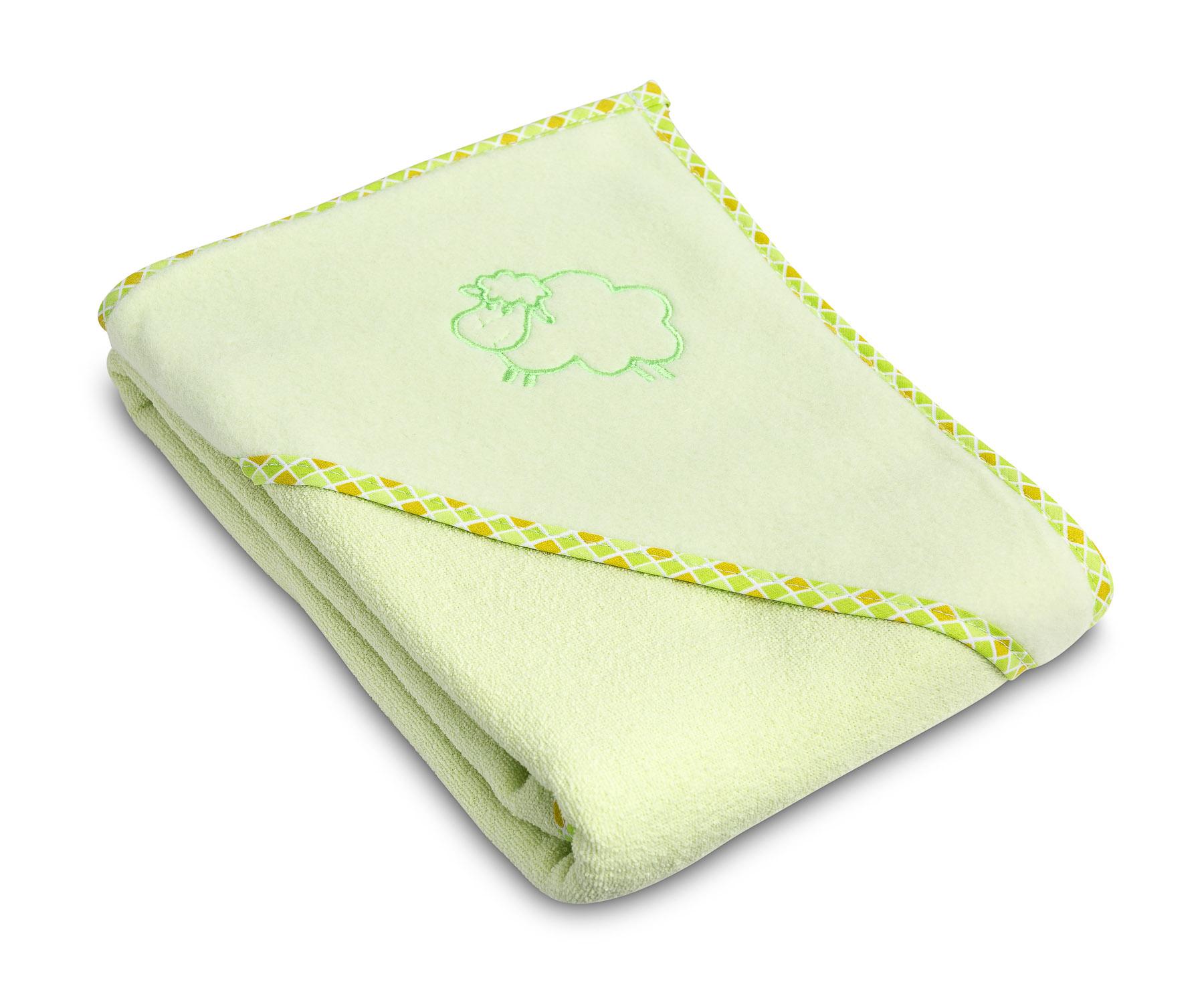 Miękkie okrycie kąpielowe Owieczka – zielone
