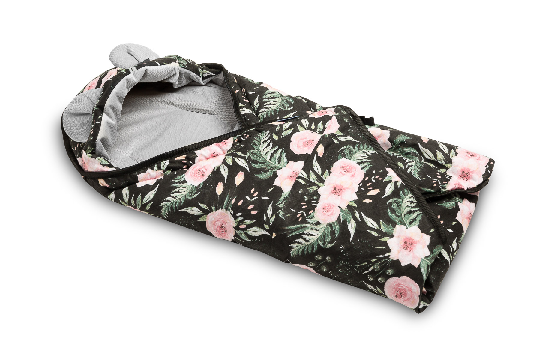 Velvet carry-cot swaddle blanket – flowers black