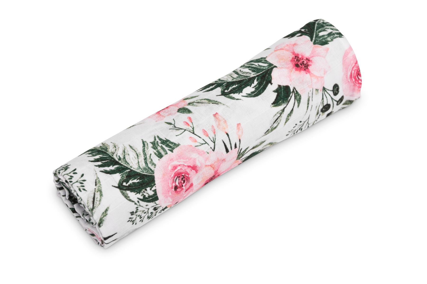 Muslin swaddle blanket – roses