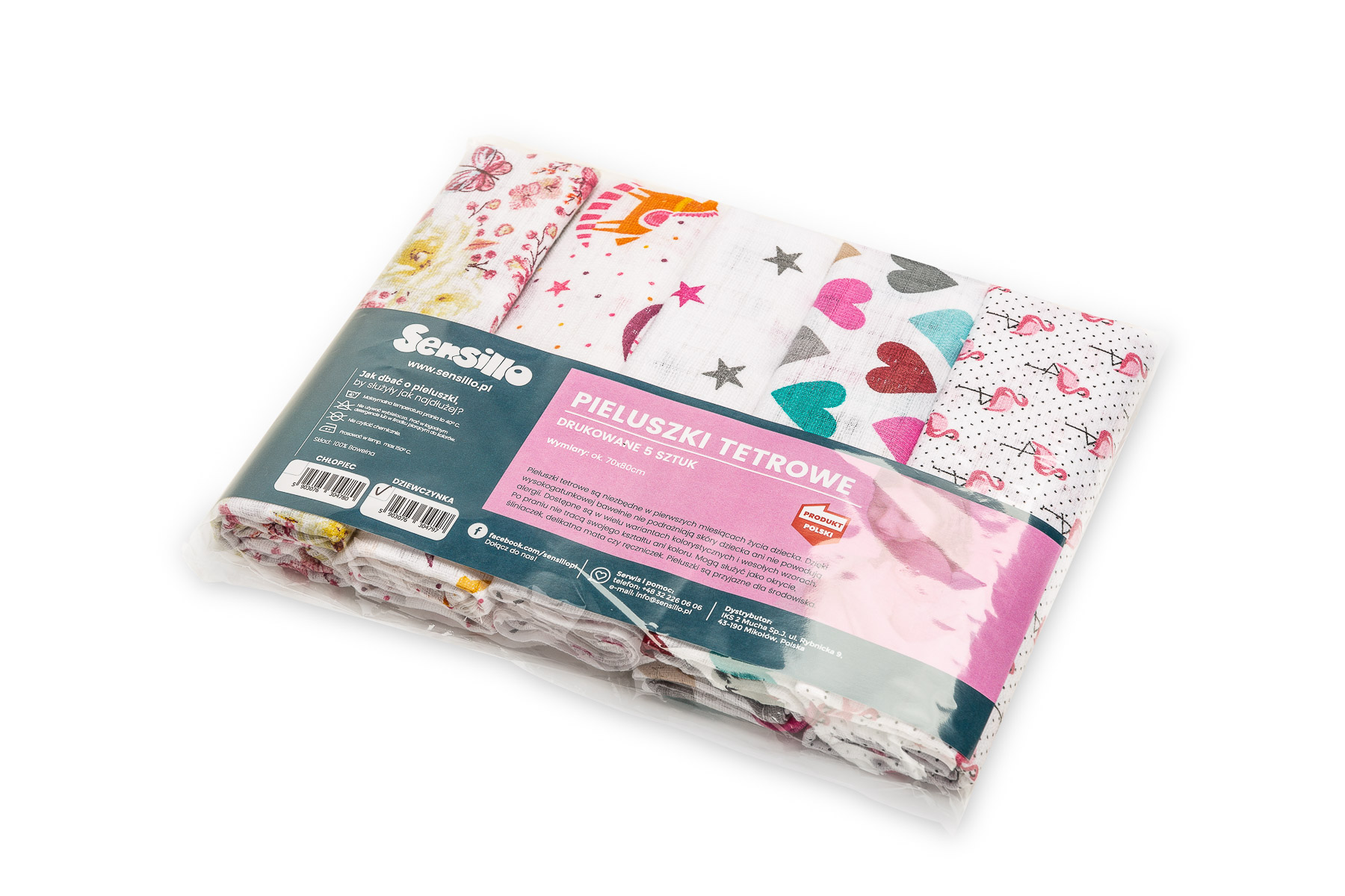 Overprinted tetra diapers 5-pack – girl