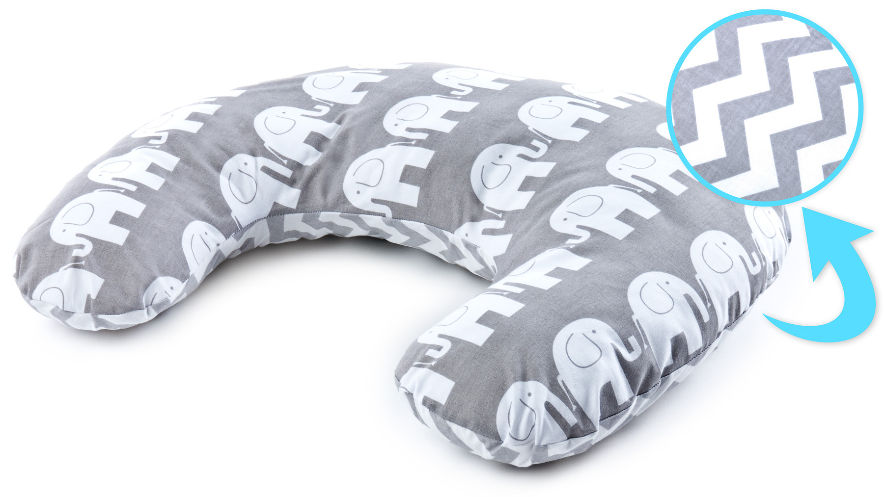 Pillow for Feeding – elephants grey