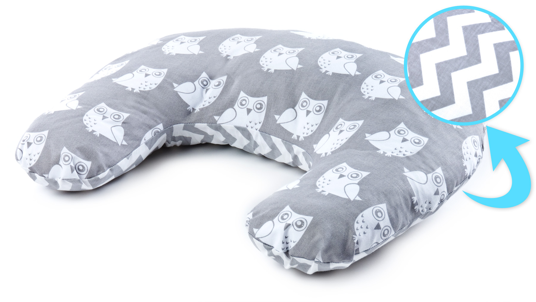 Pillow for Feeding – owls grey