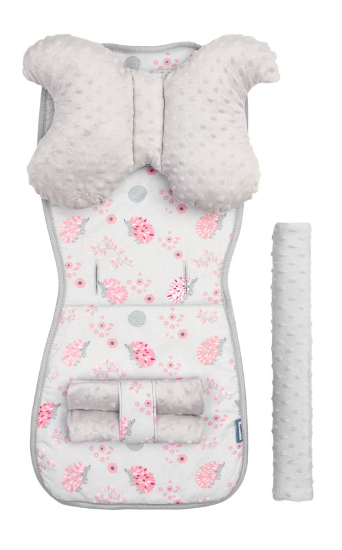Minky Deluxe Liner to Pushchair –  hedgehogs pink