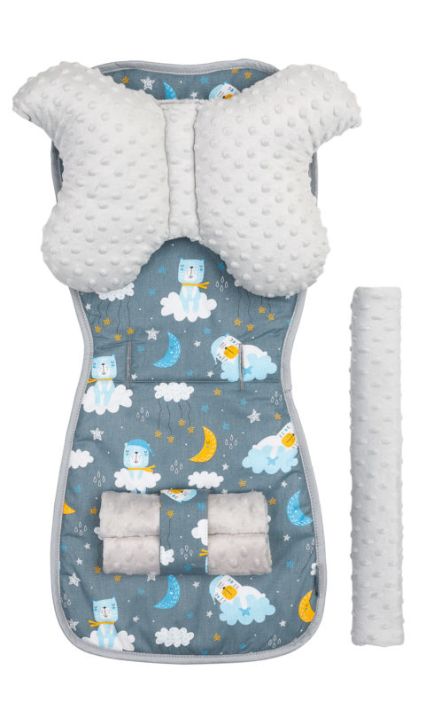 Minky Deluxe Liner to Pushchair – bears graphite