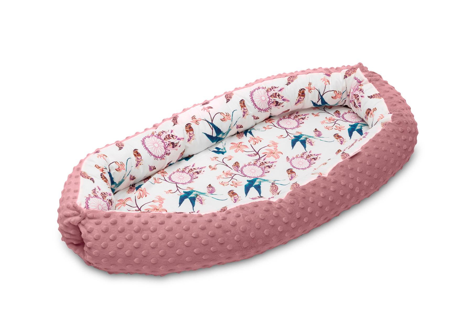 Baby nest Minky – birds retro pink