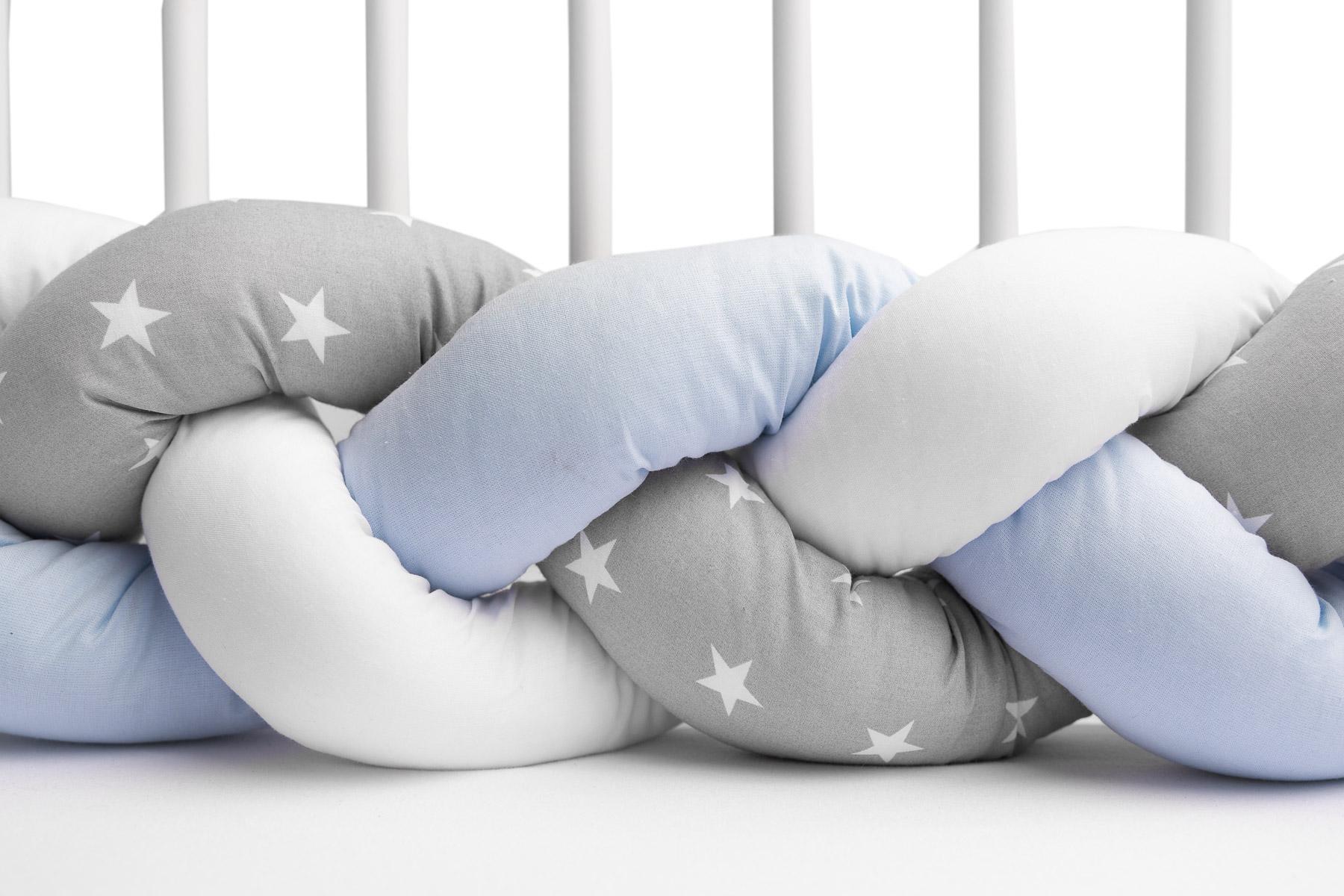Ochraniacz do łóżeczka (Warkocz) 210 cm – Niebieski Gwiazdki