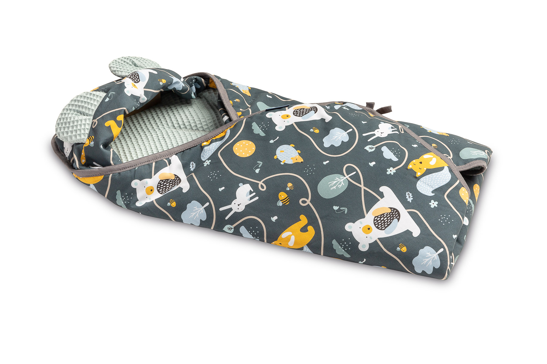 Waffle Carry-cot swaddle blanket – clearing mint