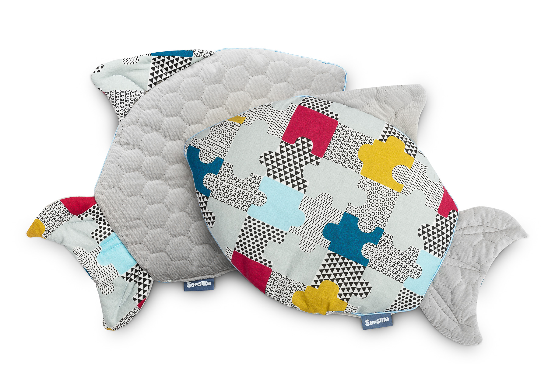 Fish Velvet Pillow – puzzle grey