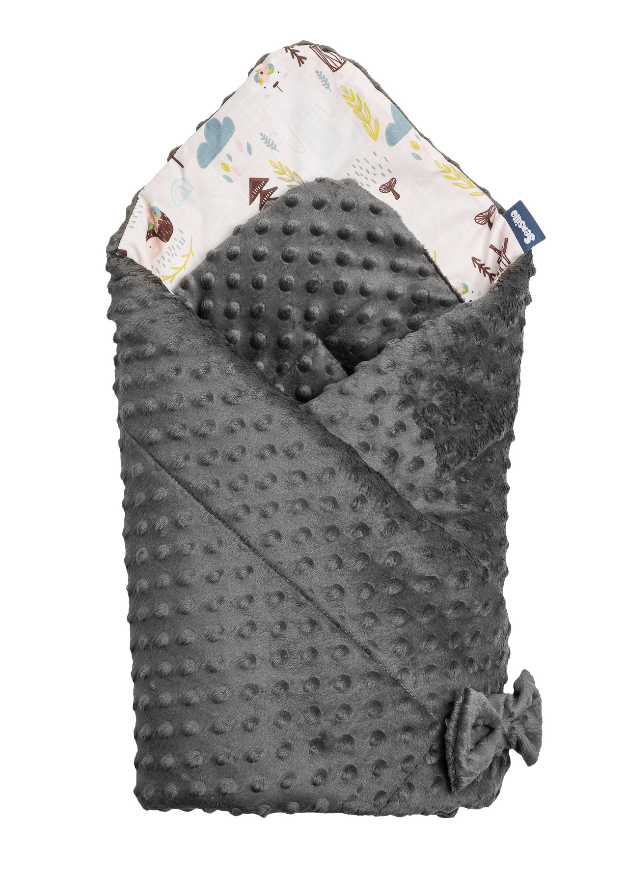 Minky Baby Nest Cone Wrap – forest dark grey