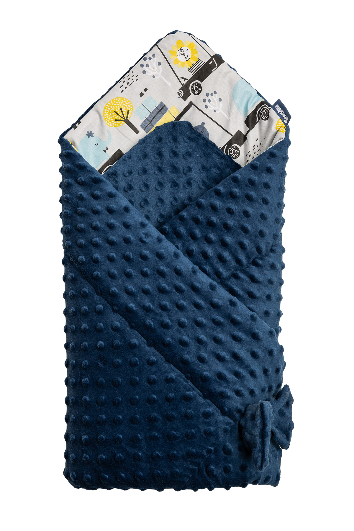 Minky Baby Nest Cone Wrap – zoo navy blue