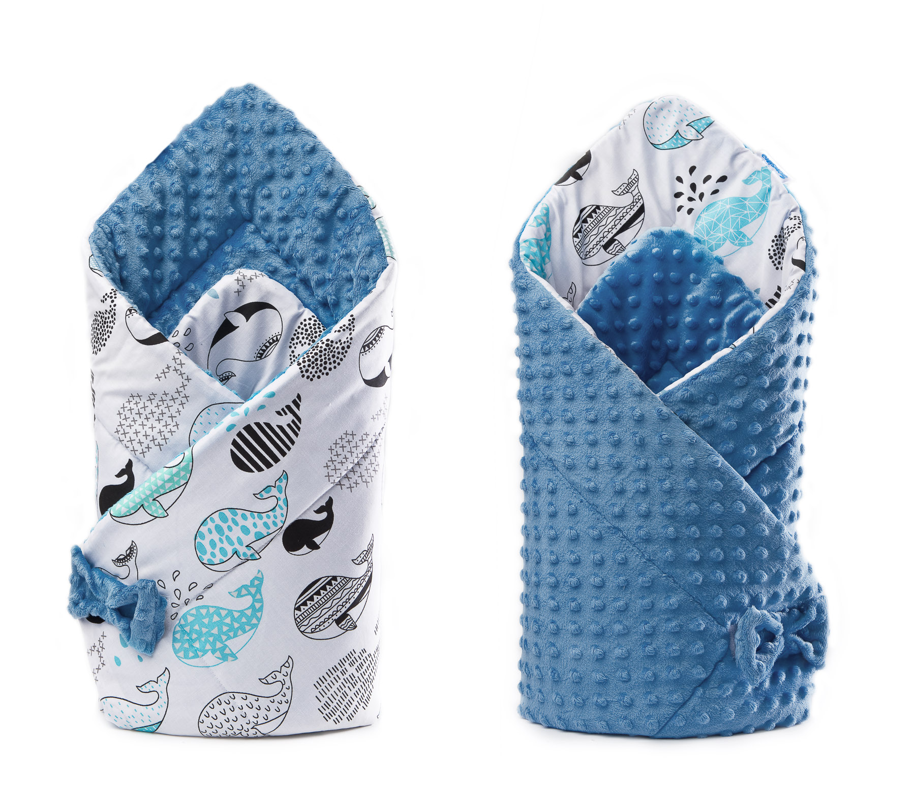 Minky Baby Nest Cone Wrap – whale turqoise