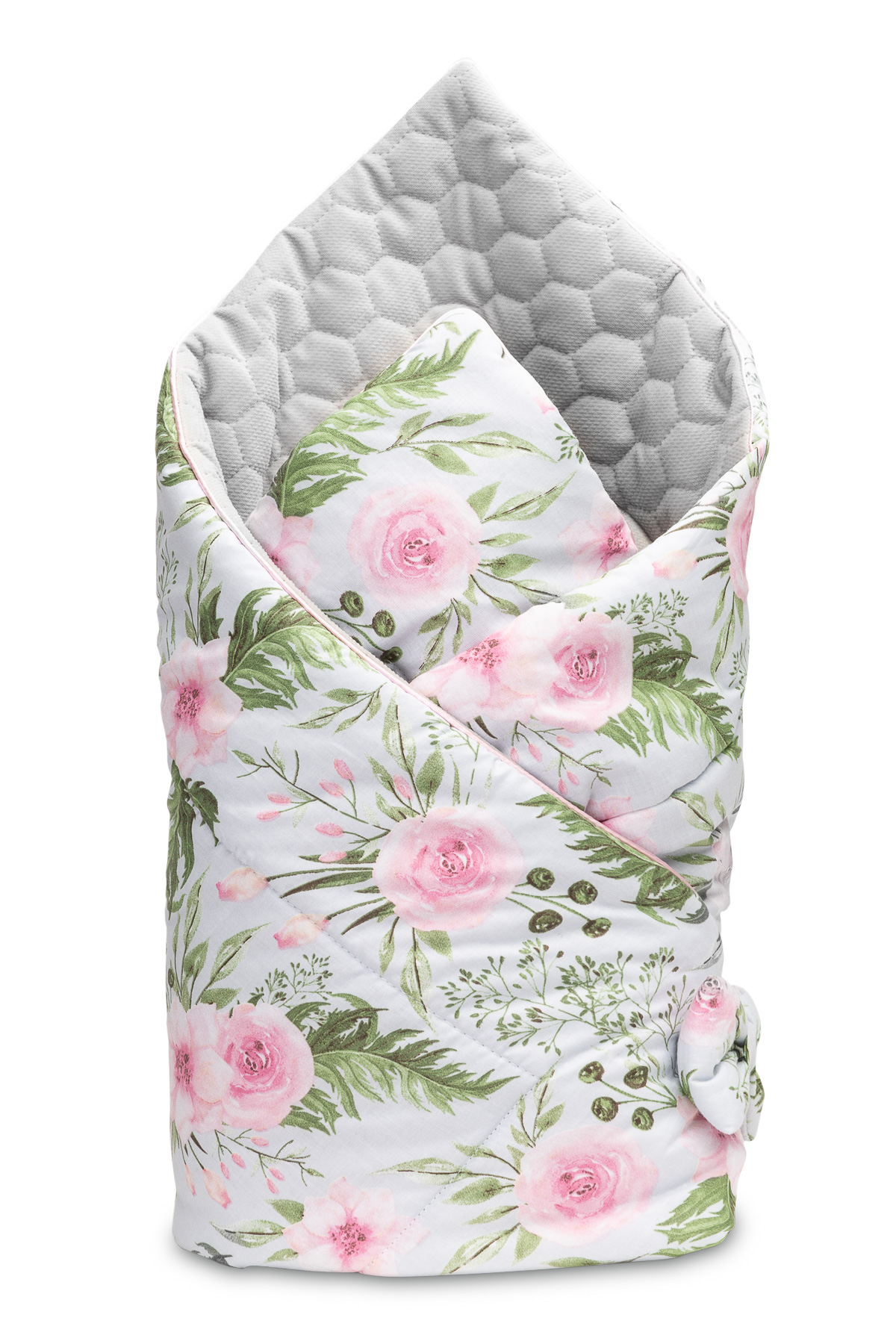 Velvet Baby Nest Cone Wrap – flowers grey
