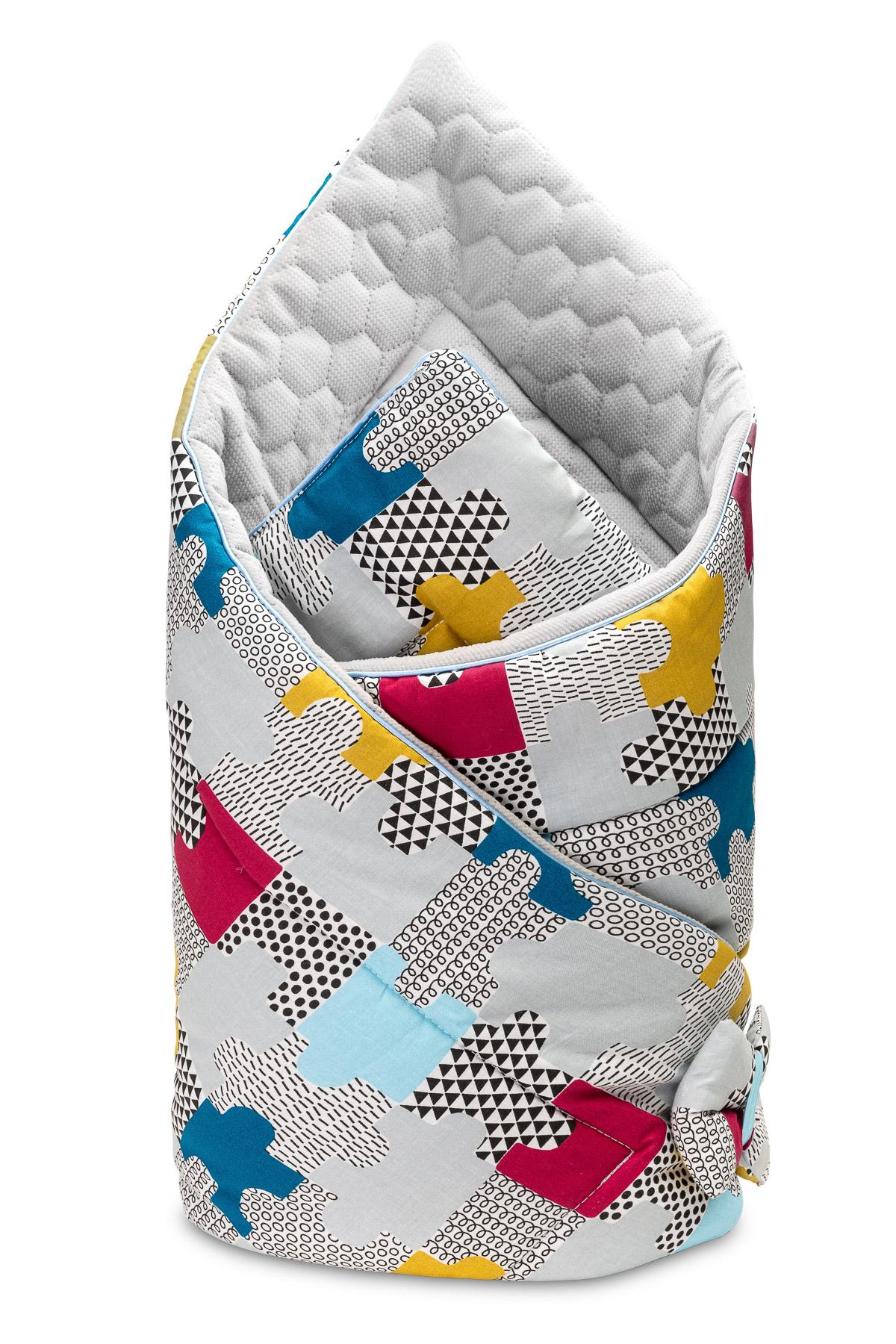 Velvet Baby Nest Cone Wrap – puzzle grey