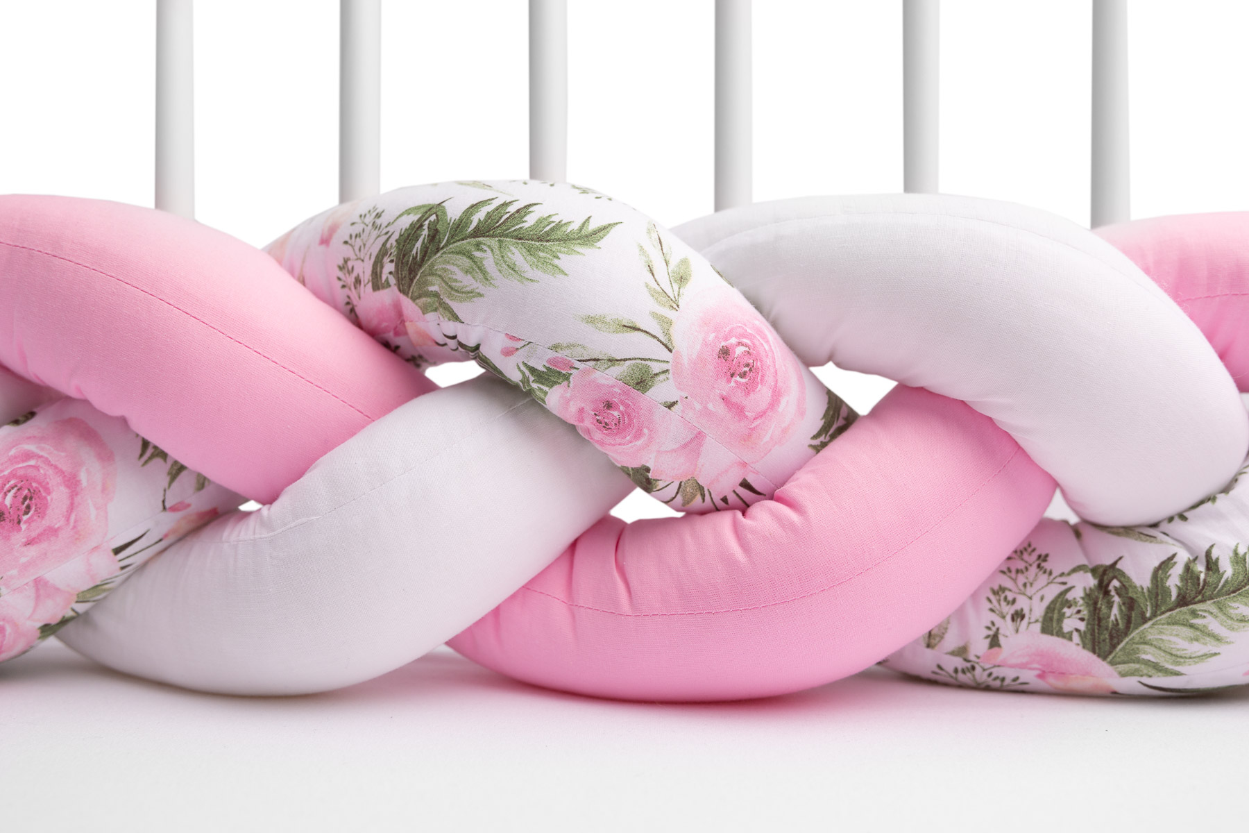 Braided Crib Bumpers 210 cm – flowers pink