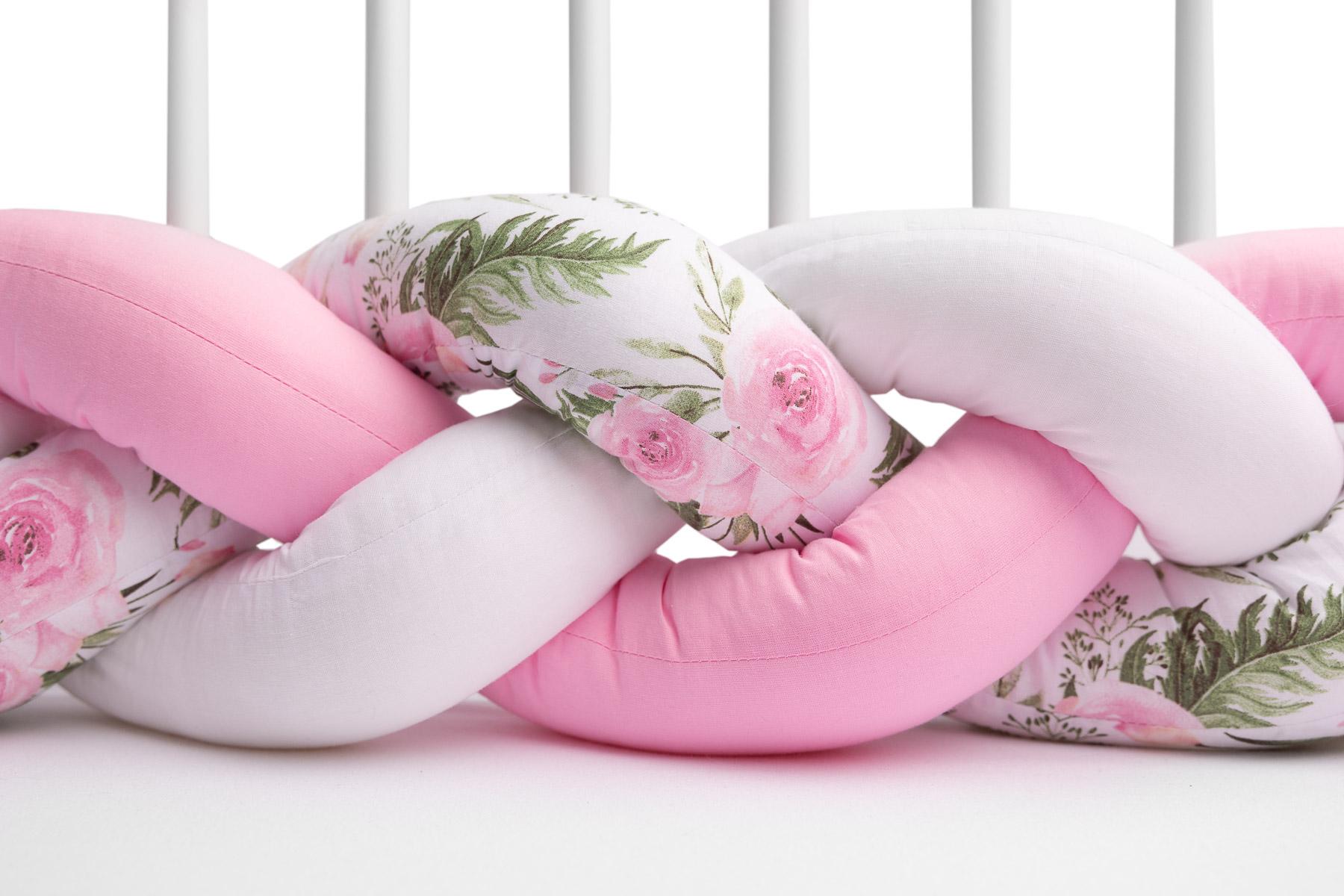Ochraniacz do łóżeczka (Warkocz) 210 cm – Różowy Kwiaty