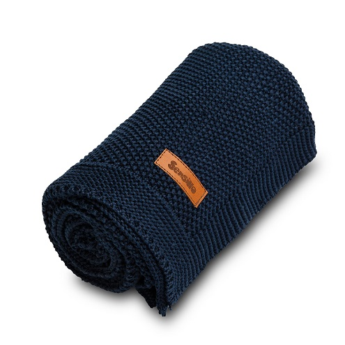 Knitted Blanket – navy blue