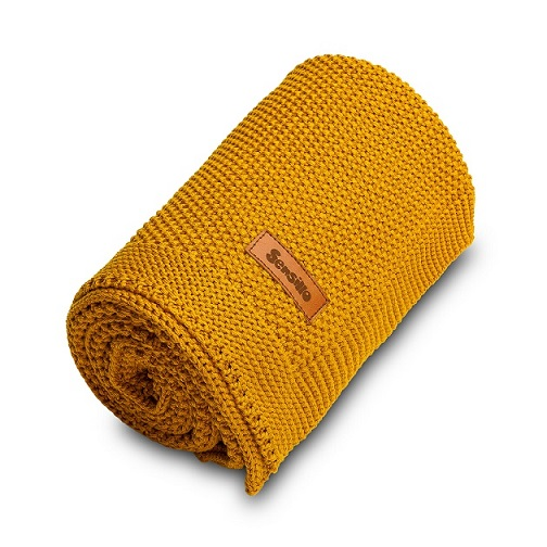 Knitted Blanket – mustard