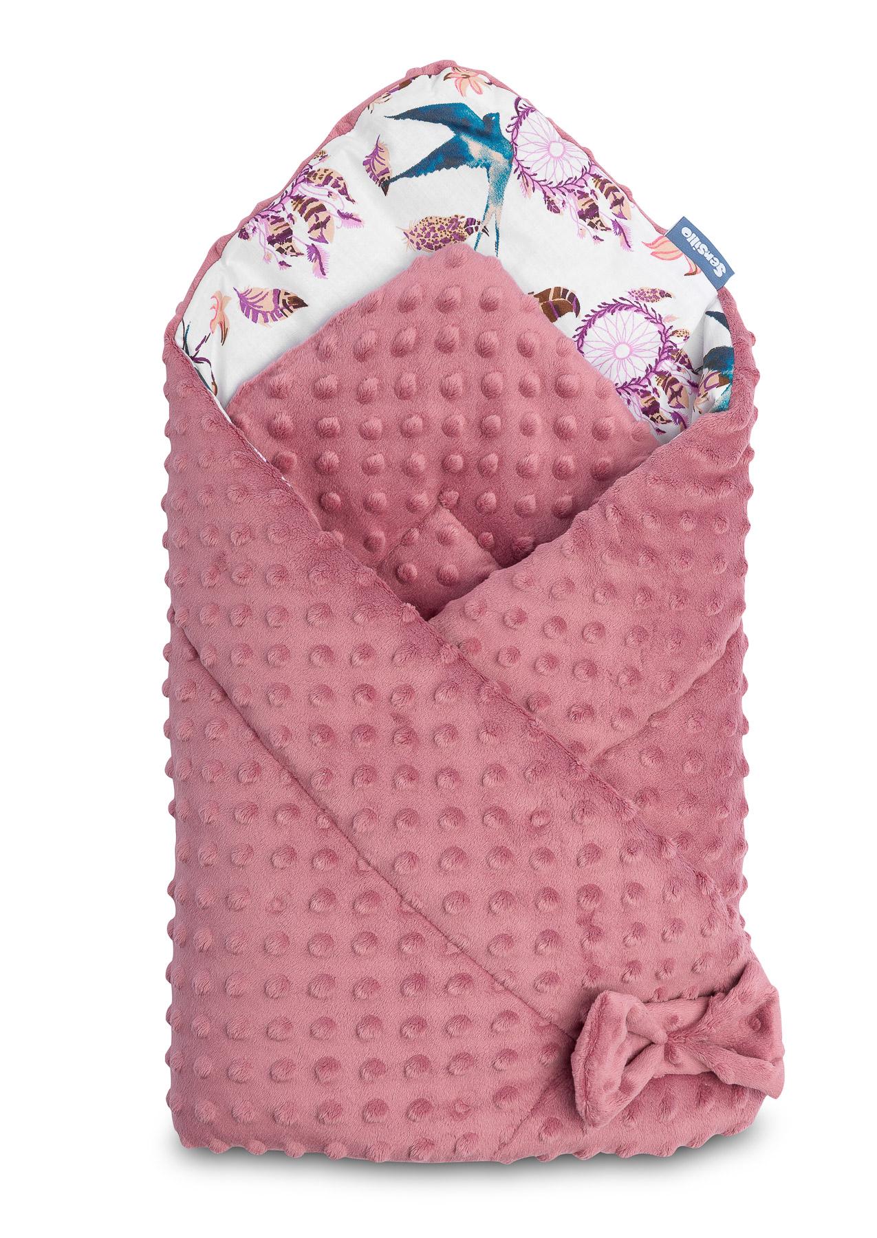 Minky Baby Nest Cone Wrap – retro pink birds