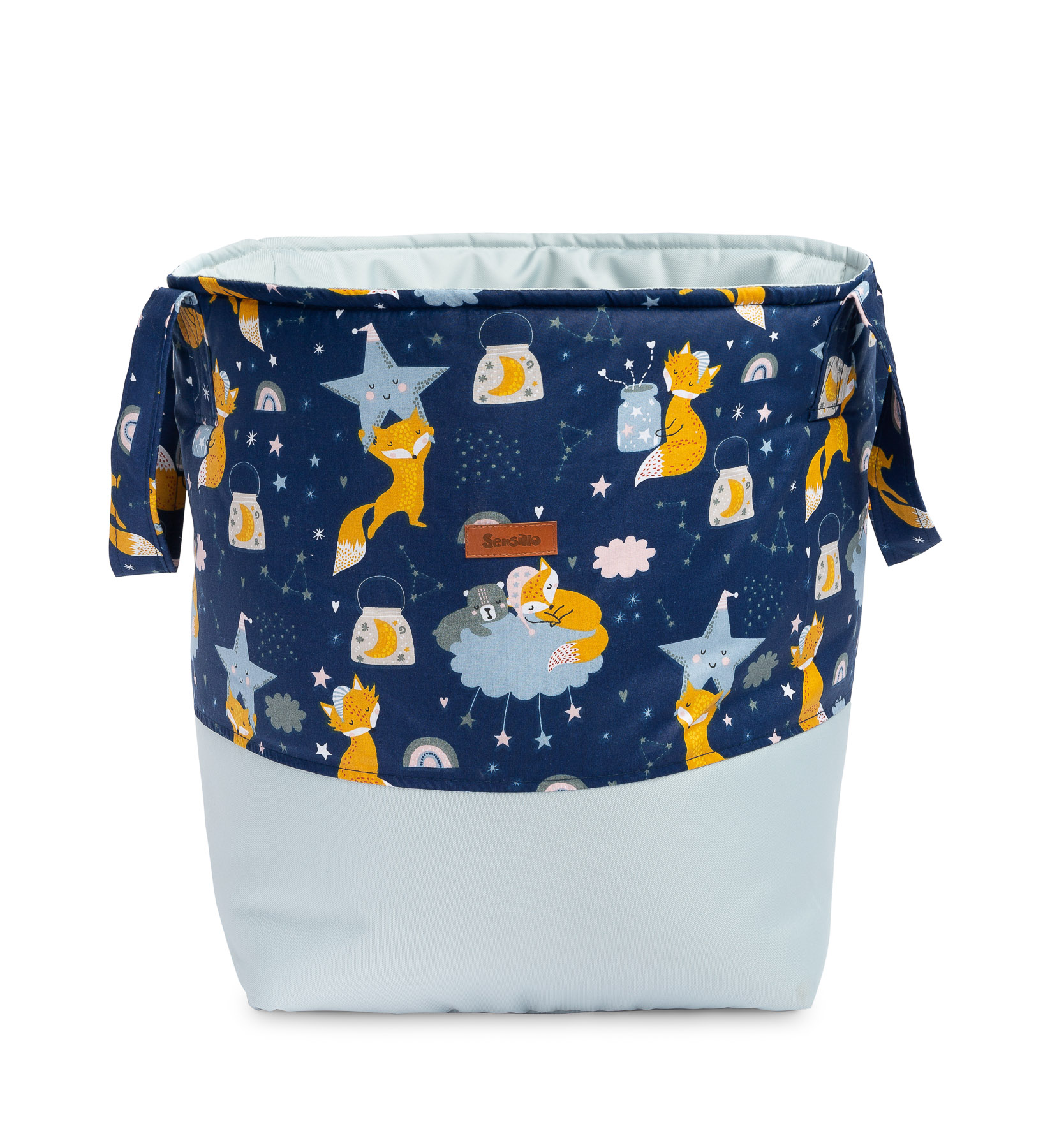 Basket for toys Medium – foxes navy blue