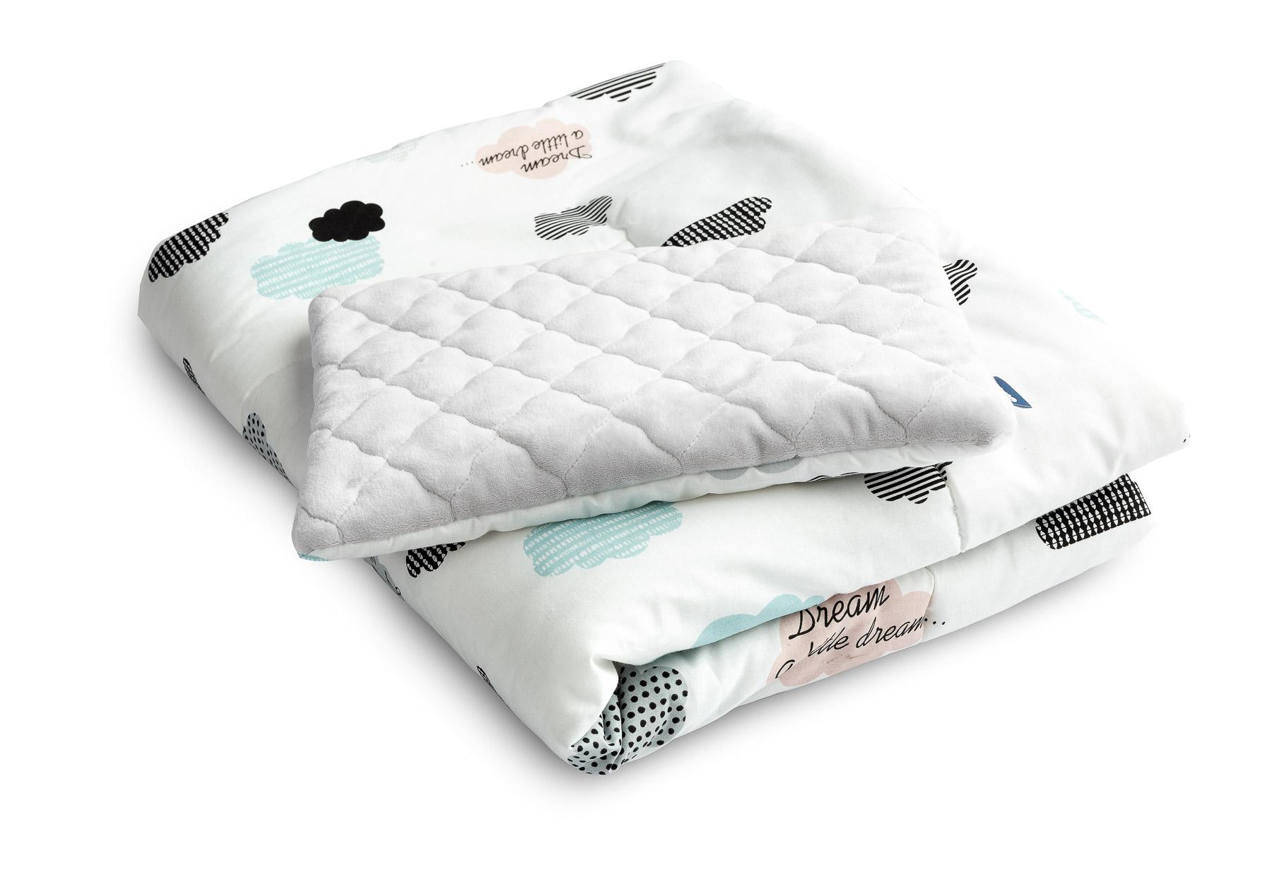 Komplet do łóżeczka plusz karo – Chmurki