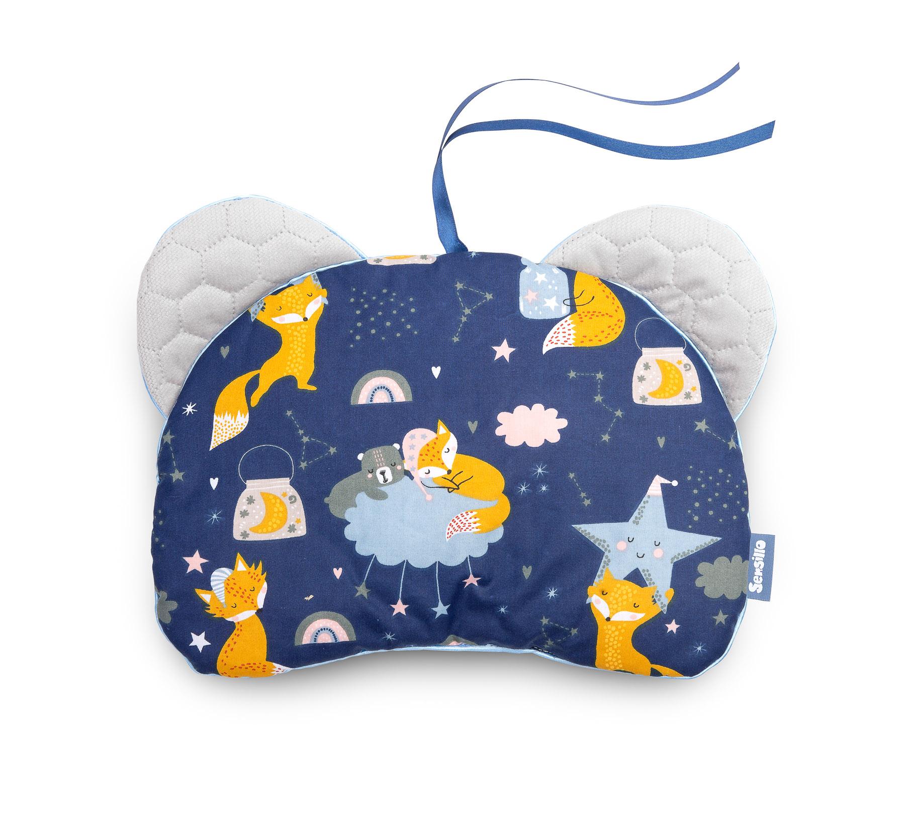 Pushchair pillow Bear – Velvet/navy foxes