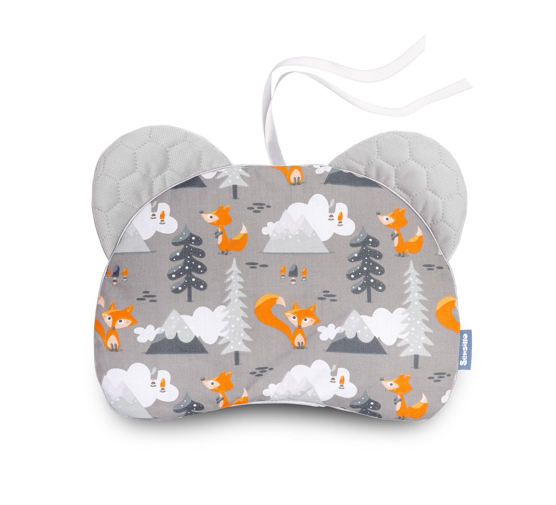 Pushchair pillow Bear – Velvet/grey mountains