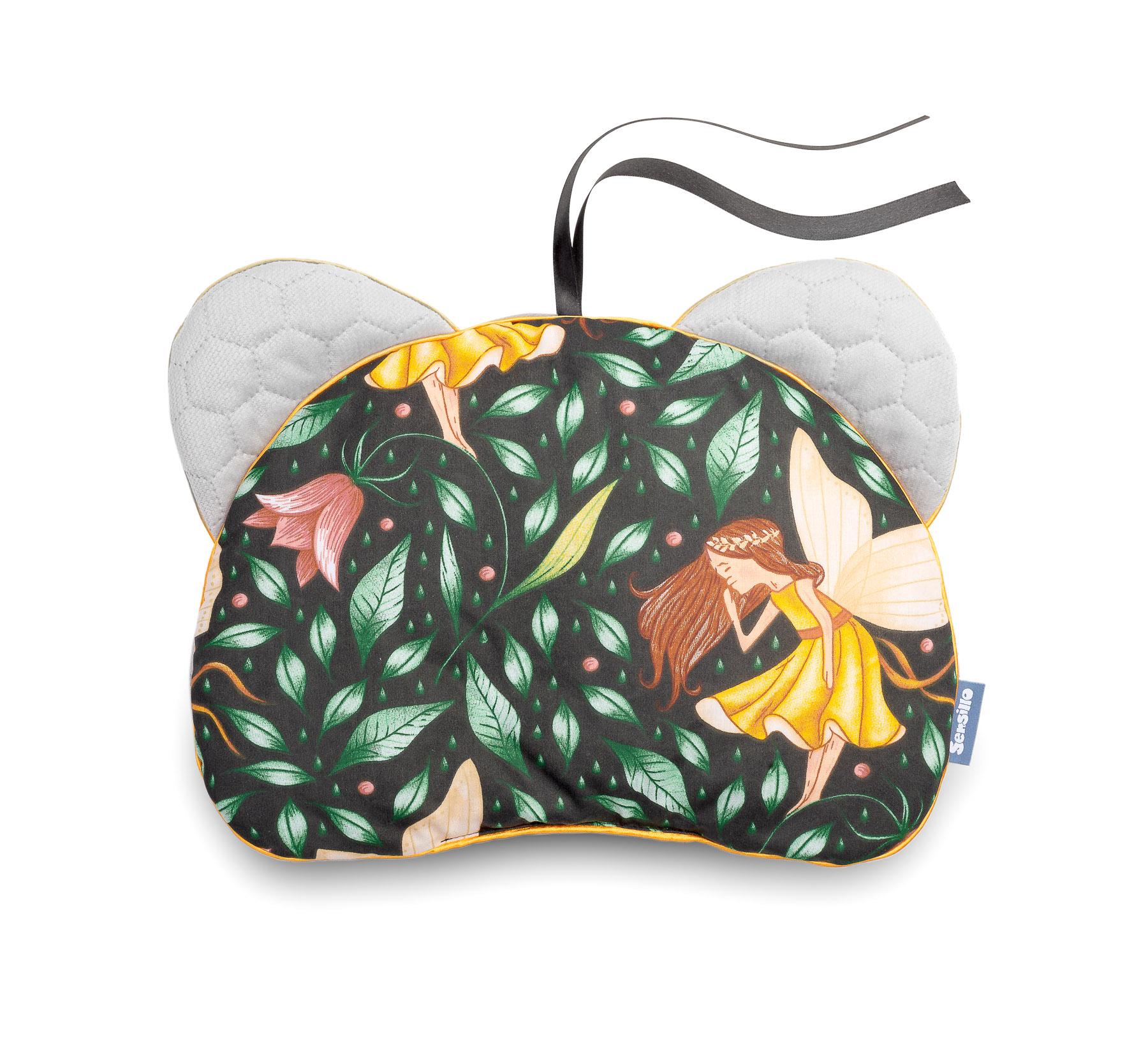 Pushchair pillow Bear – Velvet/green fairies