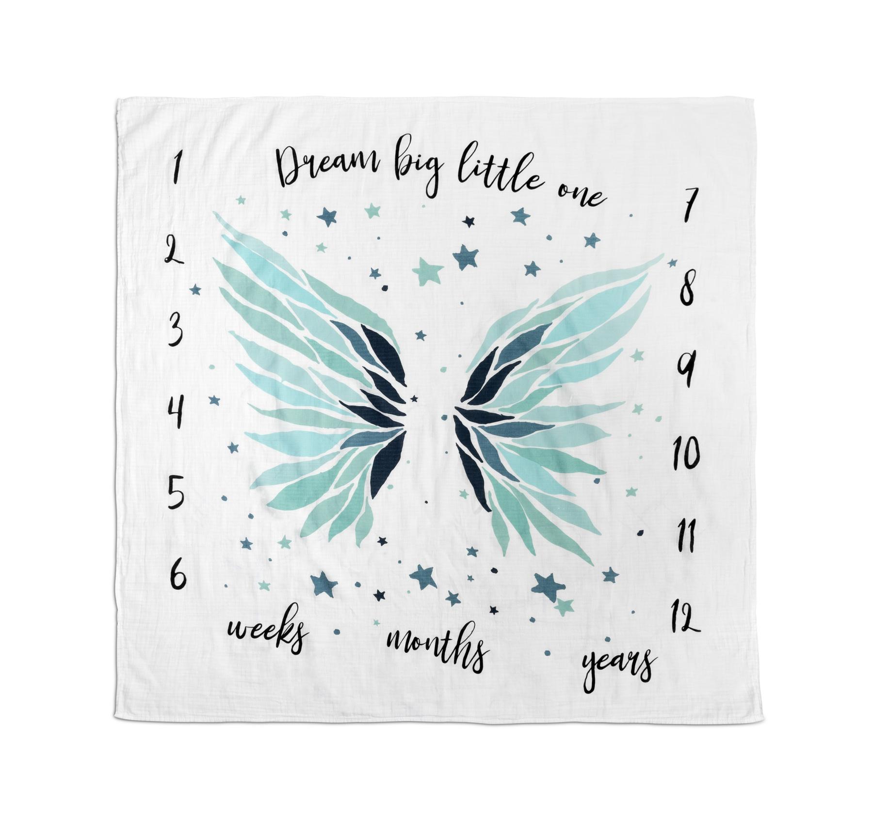Muslin mat for photos – Wings blue